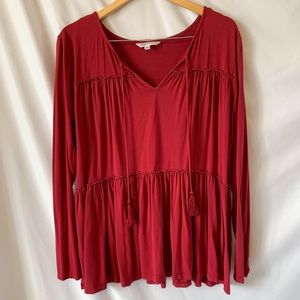 Downeast Red Tiered Peasant Top Long Sleeve XL